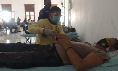 Polres Probolinggo Kota dan Jispro menggelar bakti sosial donor darah yang berlangsung di Aula Mapolres Probolinggo Kota, Rabu (21/10/2020).