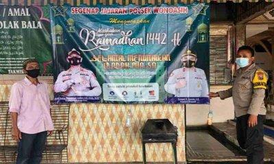Polsek Wonoasih Probolinggo Pasang Papan Himbauan Ajak Warga Disiplin Prokes